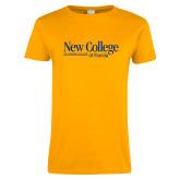 Ladies Gold T Shirt-Wordmark