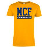 Ladies Gold T Shirt-Hashtag