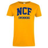 Ladies Gold T Shirt-Swimming