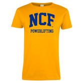 Ladies Gold T Shirt-Powerlifting
