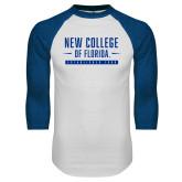 White/Royal Raglan Baseball T Shirt-New College Established