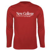 Performance Red Longsleeve Shirt-Wordmark