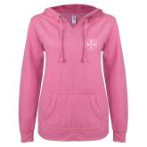 ENZA Ladies Hot Pink V Notch Raw Edge Fleece Hoodie-Primary