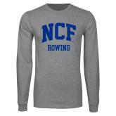 Grey Long Sleeve T Shirt-Rowing