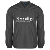 V Neck Charcoal Raglan Windshirt-Wordmark