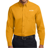 Gold Twill Button Down Long Sleeve-Wordmark