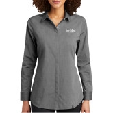 Ladies OGIO Commuter Grey Heather Woven Blouse-Wordmark