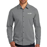 OGIO Commuter Grey Heather Woven Shirt-Wordmark