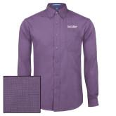 Mens Deep Purple Crosshatch Poplin Long Sleeve Shirt-Wordmark
