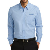 Mens Heritage Blue/Royal Micro Tattersall Long Sleeve Shirt-Wordmark