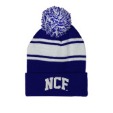 Royal/White Two Tone Knit Pom Beanie w/Cuff-NCF Arch Embroidery