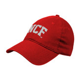Red Twill Unstructured Low Profile Hat-NCF Arch Embroidery
