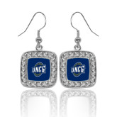 Crystal Studded Square Pendant Silver Dangle Earrings-UNCG Shield