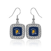 Crystal Studded Square Pendant Silver Dangle Earrings-Spartan Logo