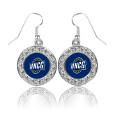 Crystal Studded Round Pendant Silver Dangle Earrings-UNCG Shield