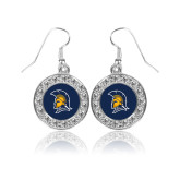 Crystal Studded Round Pendant Silver Dangle Earrings-Spartan Logo