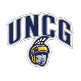 Medium Decal-Arched UNCG w/Spartan, 8 inches wide