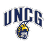 Large Decal-Arched UNCG w/Spartan, 12 inches wide