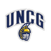 Small Decal-Arched UNCG w/Spartan, 6 inches wide