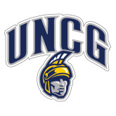 Extra Large Decal-Arched UNCG w/Spartan, 18 inches wide