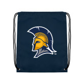 Navy Drawstring Backpack-Spartan Logo