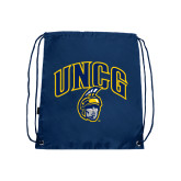 Nylon Navy Drawstring Backpack-Arched UNCG w/Spartan