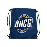 Navy Drawstring Backpack-UNCG Shield