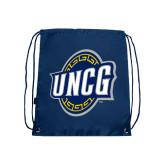 Nylon Navy Drawstring Backpack-UNCG Shield