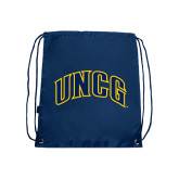 Nylon Navy Drawstring Backpack-Arched UNCG