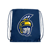 Navy Drawstring Backpack-Spartan Head