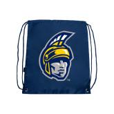 Nylon Navy Drawstring Backpack-Spartan Head