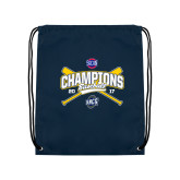 Nylon Navy Drawstring Backpack-Baseball SoCon Champions 2017 - Crossed Sticks
