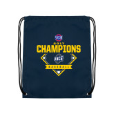 Nylon Navy Drawstring Backpack-Baseball SoCon Champions 2017 - Diamond