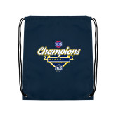 Nylon Navy Drawstring Backpack-Baseball SoCon Champions 2017 - Banner w/ Plate