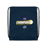 Nylon Navy Drawstring Backpack-Baseball SoCon Champions 2017 - Ball in Motion