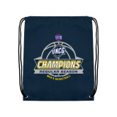 Nylon Navy Drawstring Backpack-2017 SoCon Regular Season Basketball Champions - Banner