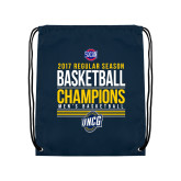 Nylon Navy Drawstring Backpack-2017 SoCon Regular Season Basketball Champions - Stacked