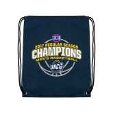 Nylon Navy Drawstring Backpack-2017 SoCon Regular Season Basketball Champions - Arched