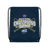Nylon Navy Drawstring Backpack-2017 SoCon Regular Season Softball Champions - Crossed Bats