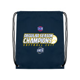 Nylon Navy Drawstring Backpack-2017 SoCon Regular Season Softball Champions - Ball
