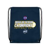 Nylon Navy Drawstring Backpack-2017 SoCon Regular Season Softball Champions - Ball