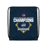Nylon Navy Drawstring Backpack-2017 SoCon Regular Season Softball Champions - Diamond