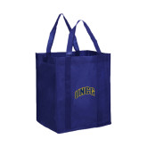 Non Woven Navy Grocery Tote-Arched UNCG