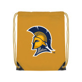 Gold Drawstring Backpack-Spartan Logo