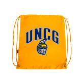 Nylon Gold Drawstring Backpack-Arched UNCG w/Spartan