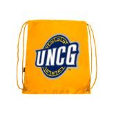 Nylon Gold Drawstring Backpack-UNCG Shield