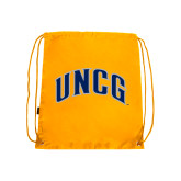 Nylon Gold Drawstring Backpack-Arched UNCG