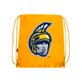 Gold Drawstring Backpack-Spartan Head