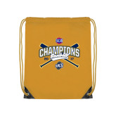 Nylon Gold Drawstring Backpack-Baseball SoCon Champions 2017 - Crossed Sticks