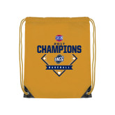 Nylon Gold Drawstring Backpack-Baseball SoCon Champions 2017 - Diamond